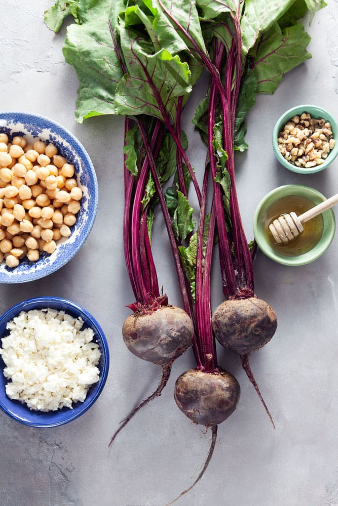 Recipe for Creamy Beet Hummus with Walnuts and Feta
