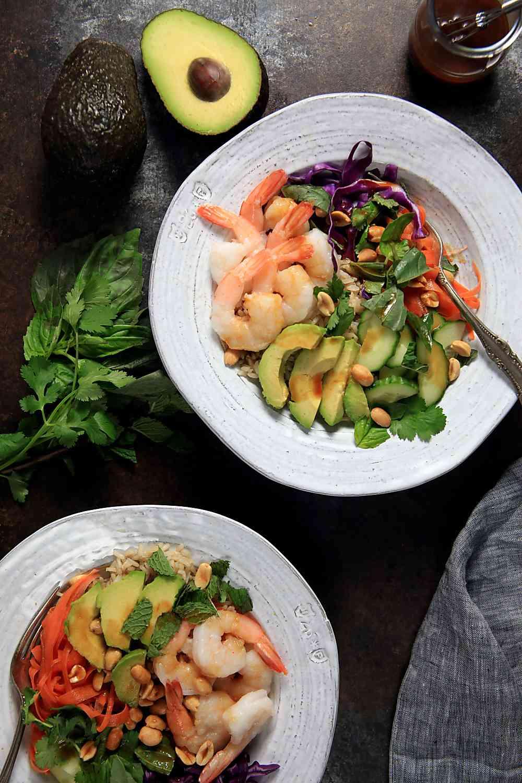 Easy Shrimp Spring Roll Bowls