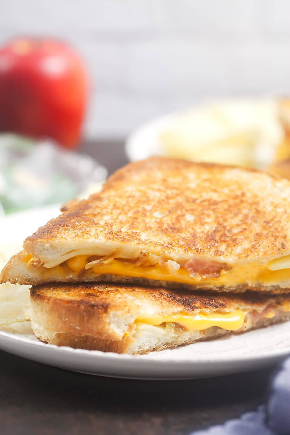 Fancy Grilled Cheese with Caramelized Onion, Apples, and Bacon