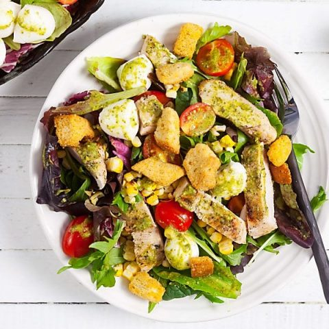Grilled Chicken and Sweet Corn Salad with Pesto Vinaigrette From Above