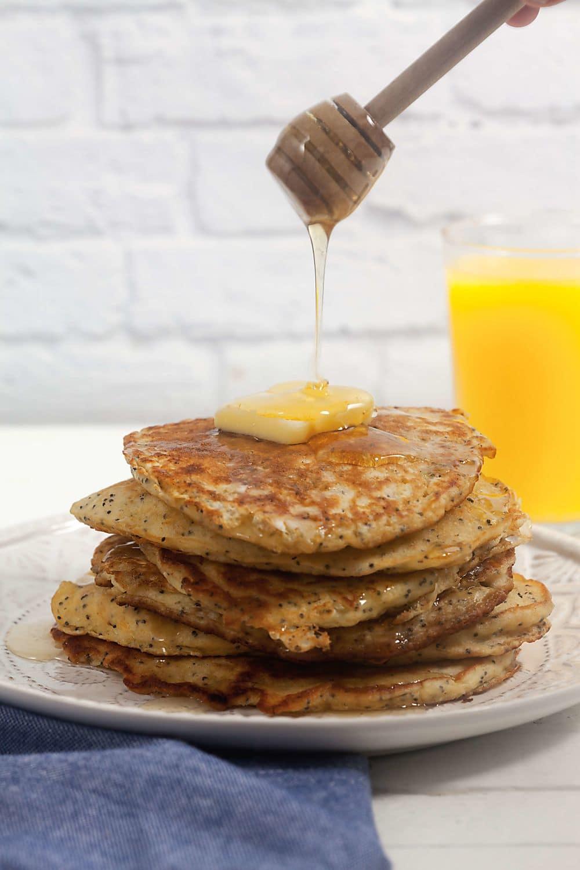 Lemon Poppyseed Oatmeal Pancakes with Oney