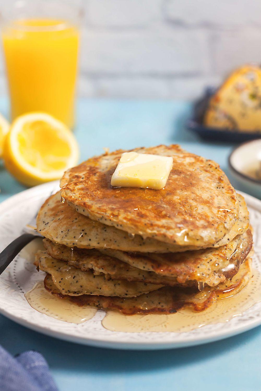 Lemon Poppyseed Oatmeal Pancakes Stack