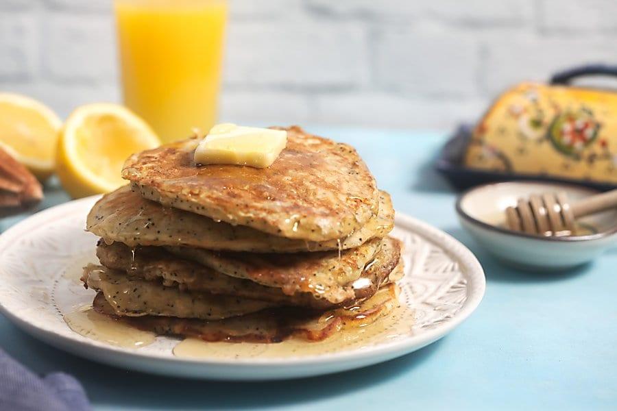 Lemon Poppyseed Oatmeal Pancakes for Breakfast