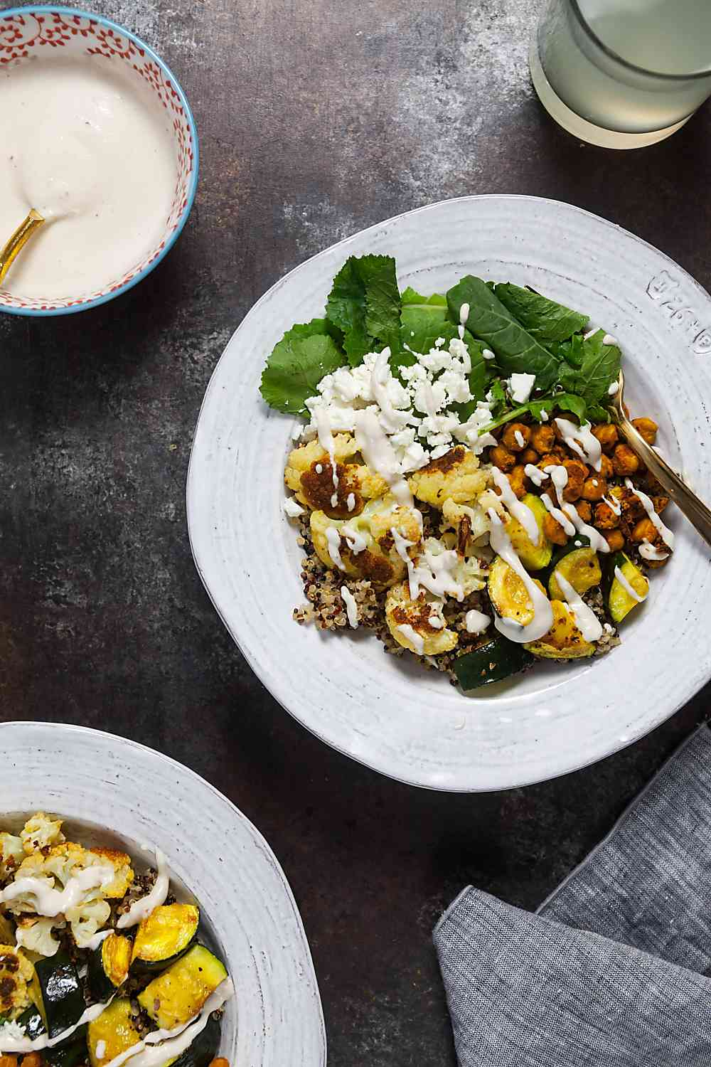 Roast Cauliflower Quinoa Bowls with Crispy Chickpeas and Lemon-Tahini Sauce