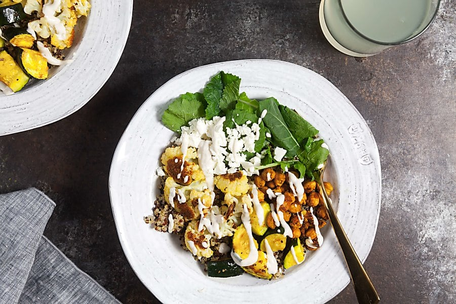 Roast Cauliflower Quinoa Bowls with Crispy Chickpeas and Lemon-Tahini Sauce