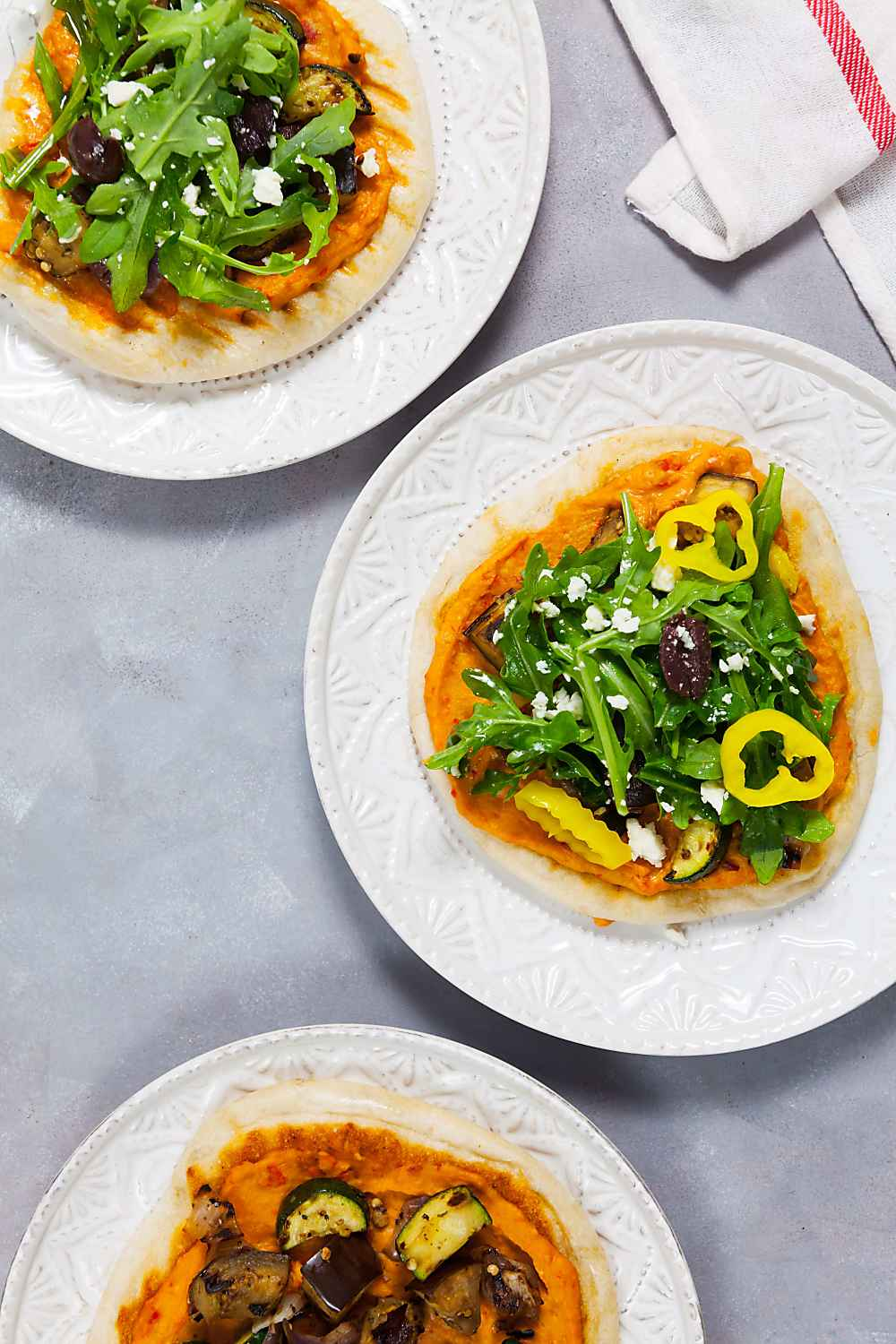 Grilled Roasted Red Pepper Hummus Pizzas Photo