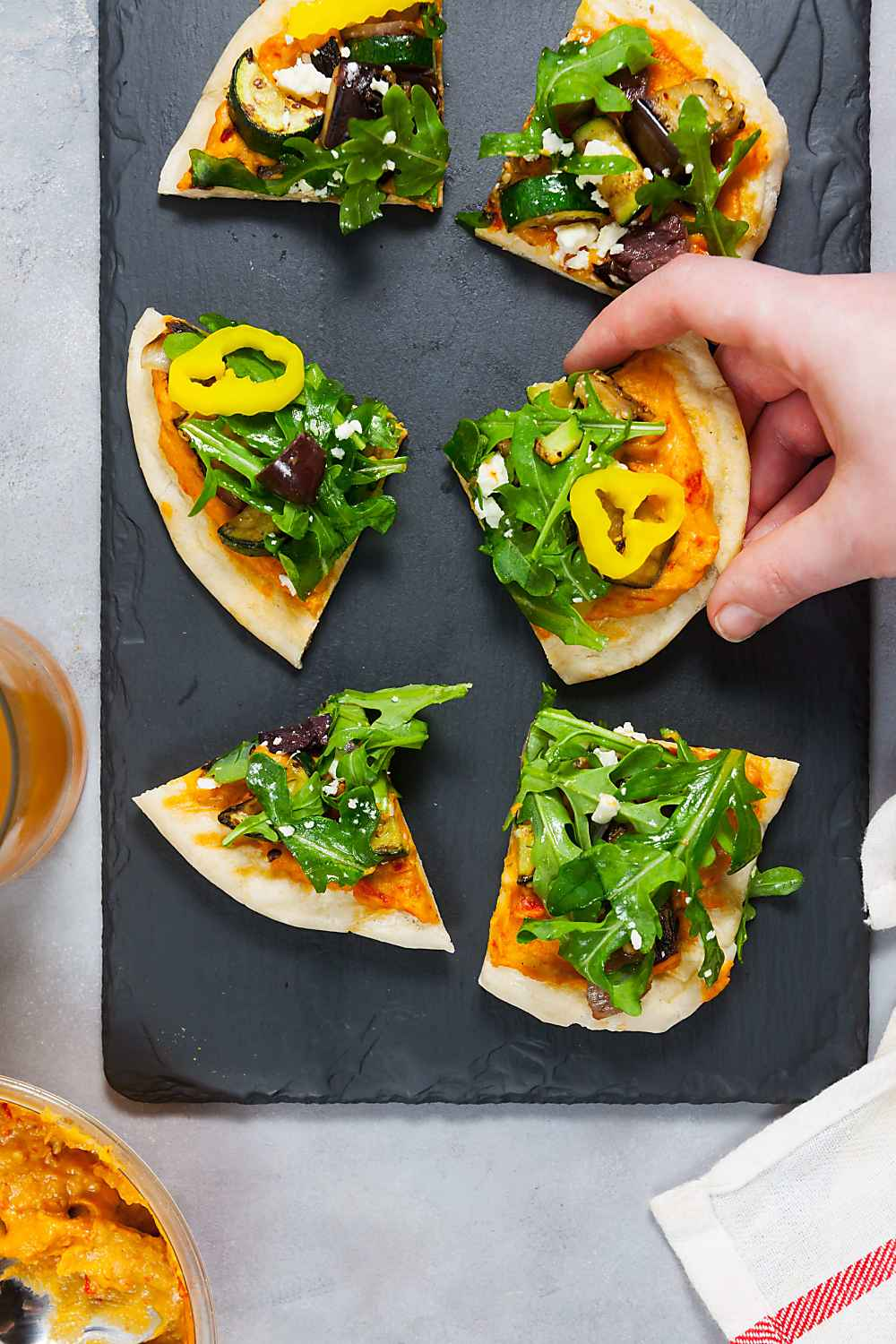 Grilled Roasted Red Pepper Hummus Pizzas Recipe