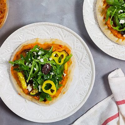 Grilled Roasted Red Pepper Hummus Pizzas