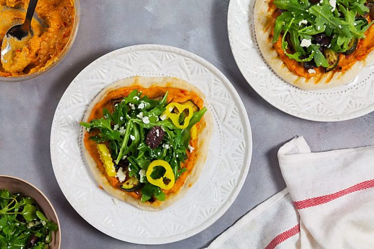 Grilled Roasted Red Pepper Hummus Pizzas 1