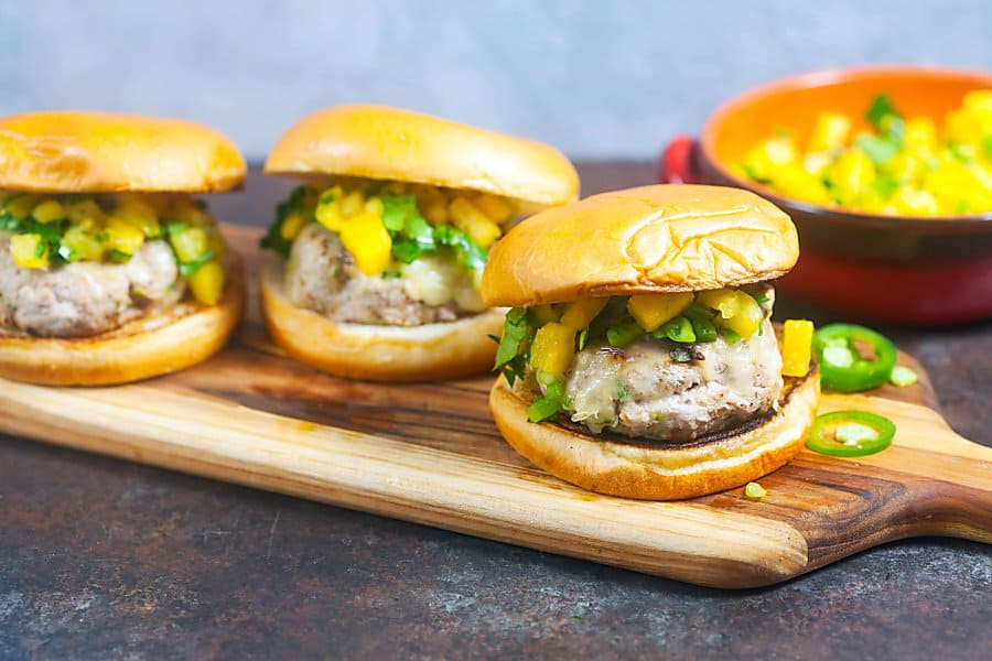 Jerk Turkey Burgers with Pineapple Salsa