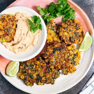 Spicy Corn Fritters with Chipotle Dip (Dairy Free)