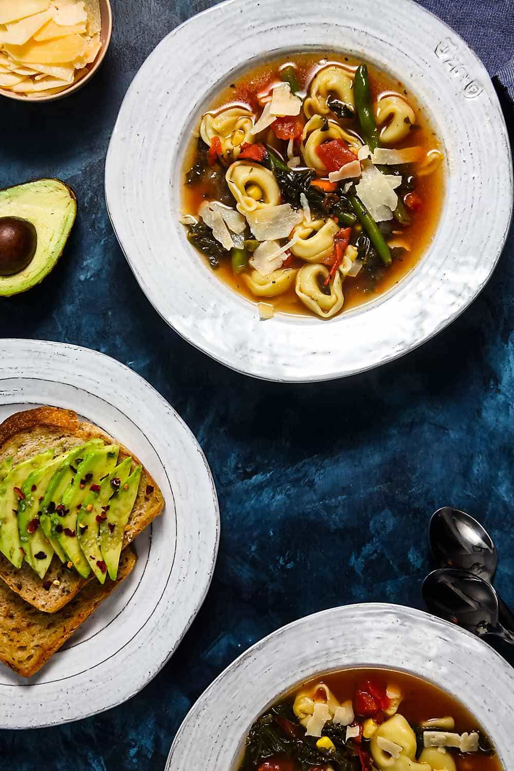 30-Minute Tortellini Vegetable Soup Recipe with Avocado Toast