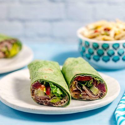 Easy Turkey Wraps with Caramelized Onion Goat Cheese Spread