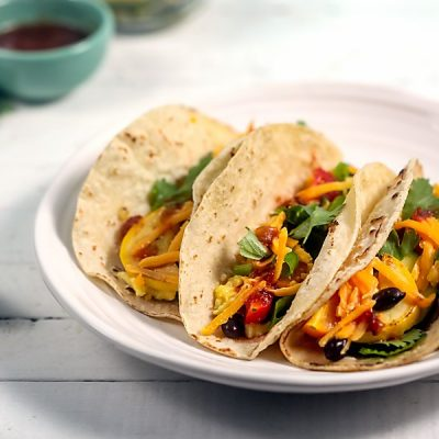 Summer Vegetable Breakfast Tacos with Soft Scrambled Eggs