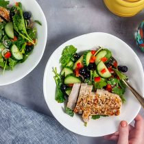 Kale-Blueberry Salad with Jerk Pork Loin
