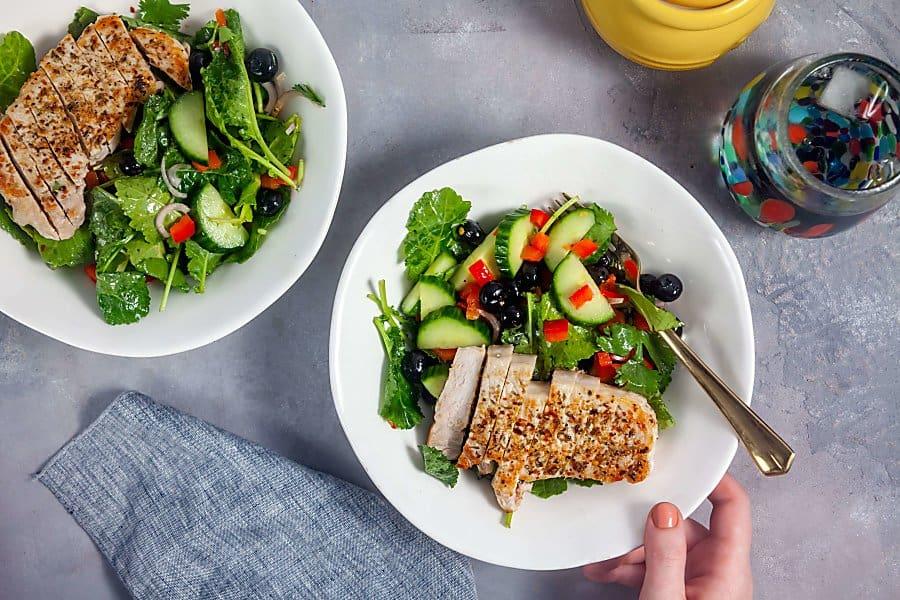 Kale-Blueberry Salad with Jerk Pork Loin