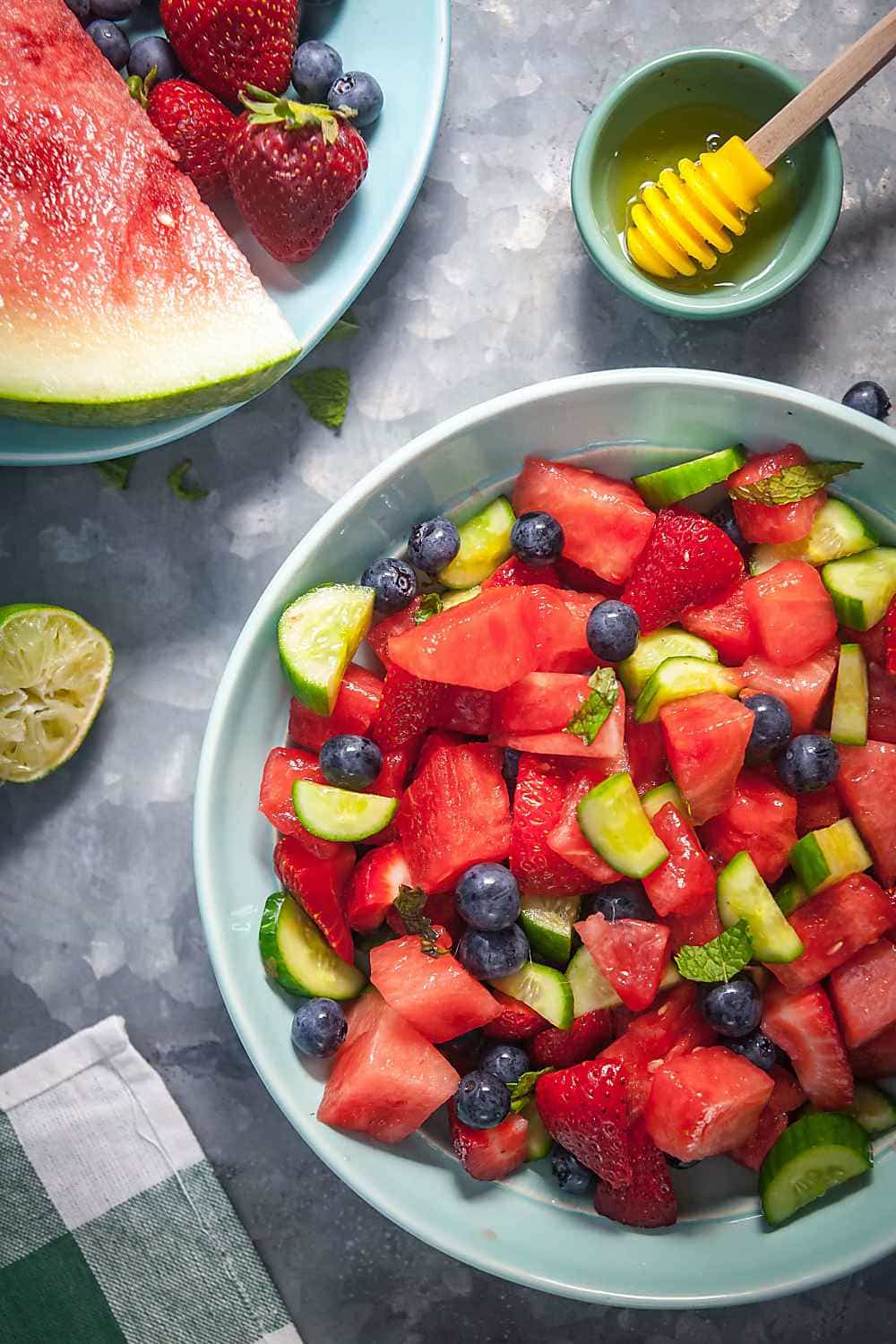 hydrating fruit salad with watermelon cucumber and mint