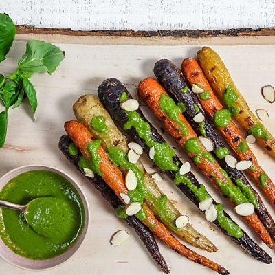 Easy Grilled Carrots with Basil Vinaigrette (Vegan)