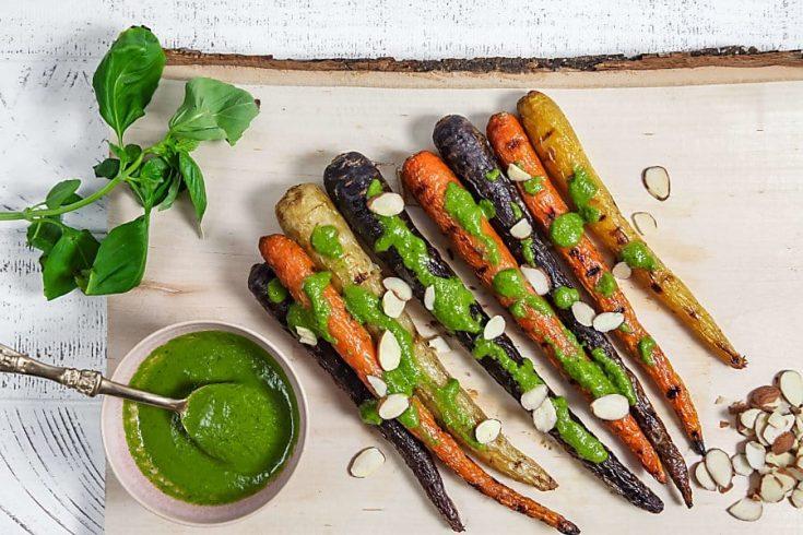 Easy Grilled Carrots with Basil Vinaigrette (Vegan) 1