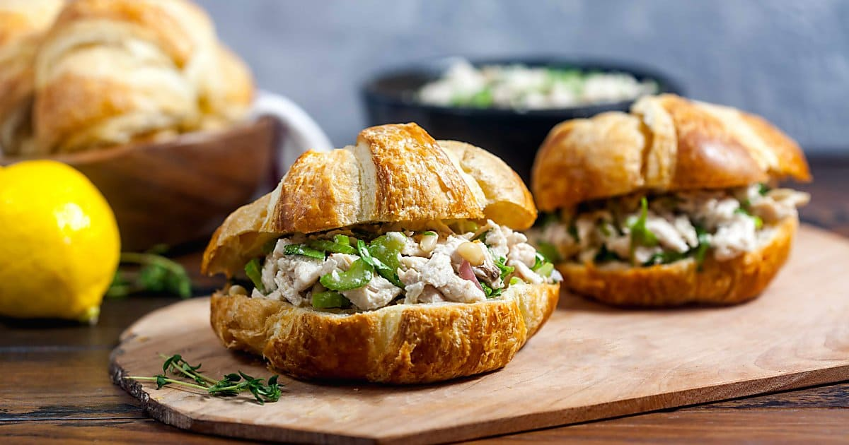 Mayo Free Chicken Salad Sandwiches With Lemon And Herbs Healthy Delicious