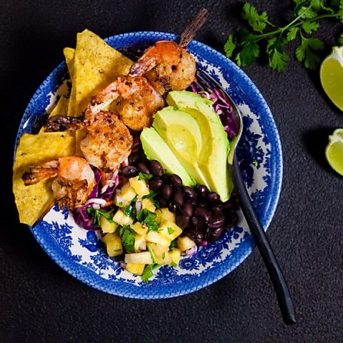 Shrimp Taco Bowls with Pineapple Salsa