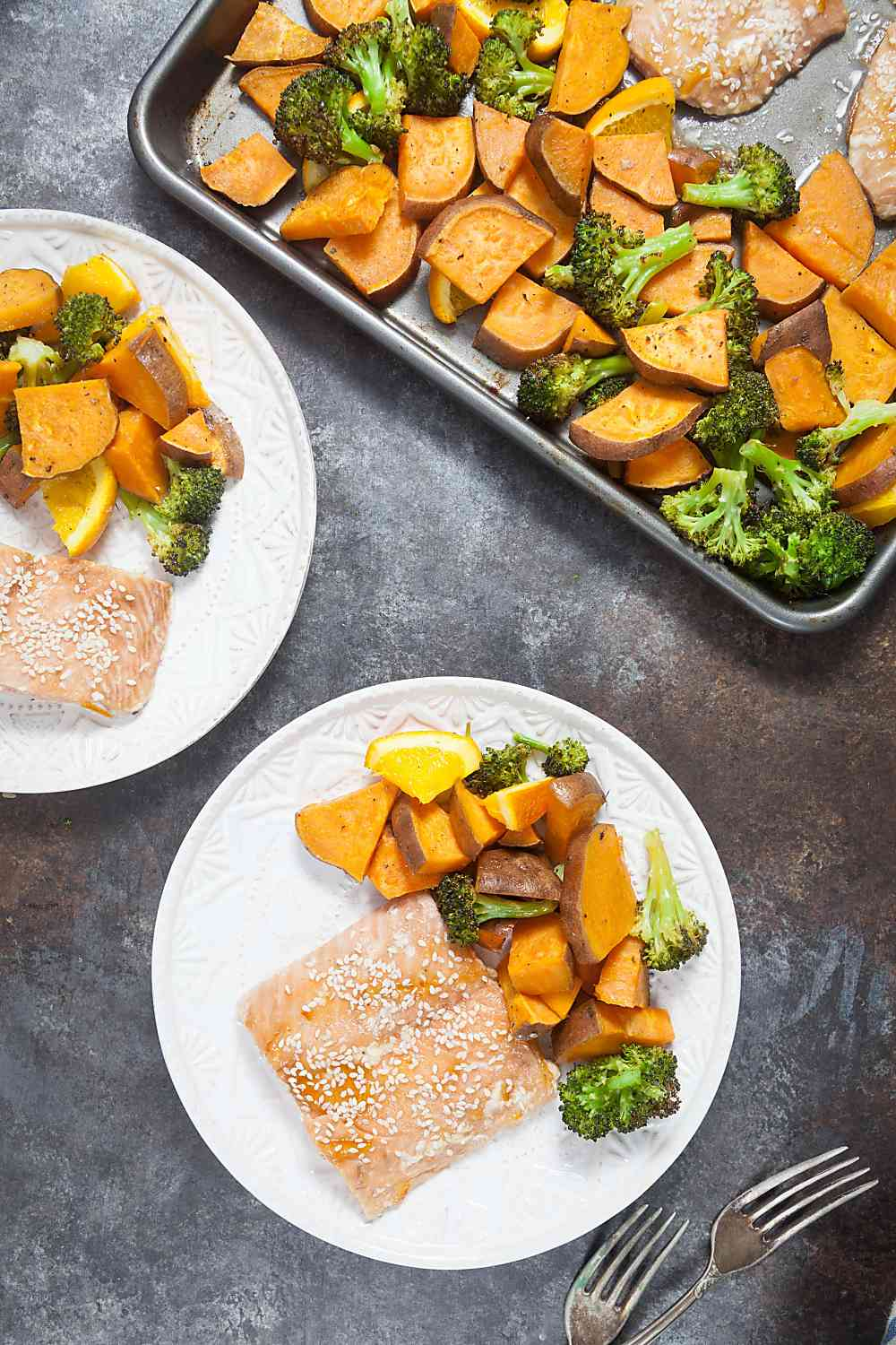 One Pan Orange Glazed Salmon with Sweet Potatoes and Broccoli