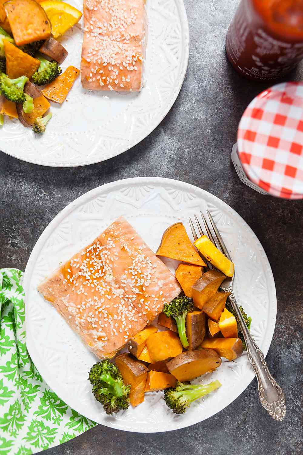 One Pan Orange Salmon with Sweet Potatoes and Broccoli