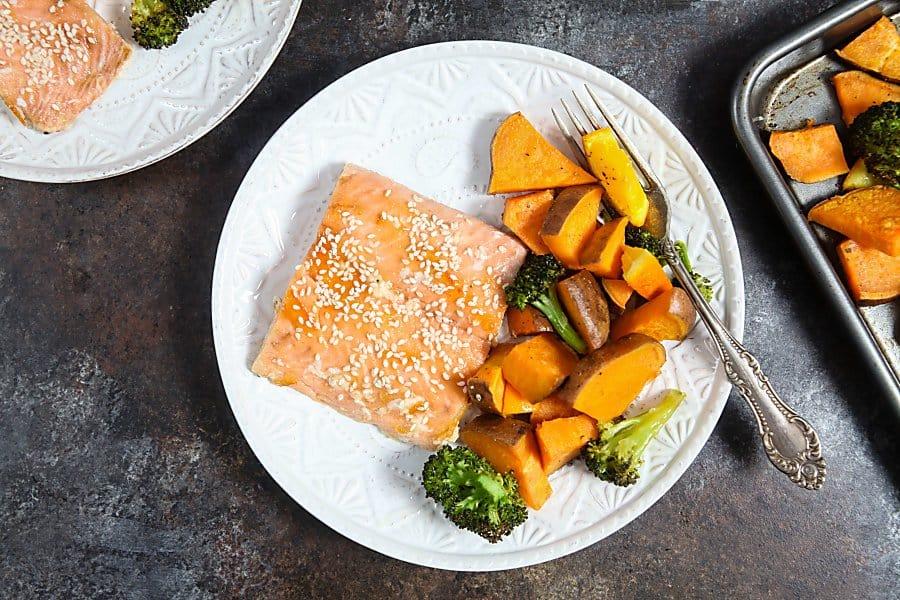 One Pan Orange Glazed Salmon with Sweet Potatoes and Broccoli
