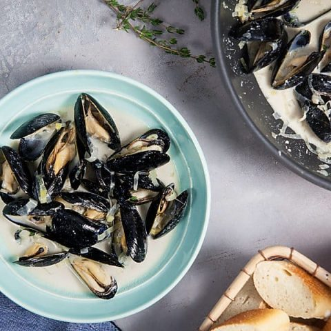 Creamy Apple Cider Mussels
