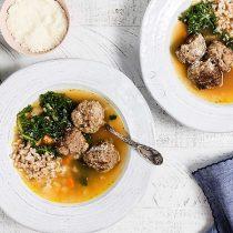 Italian Meatball and Farro Soup with Pesto 11