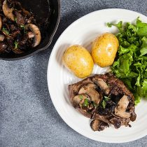Sirloin Steaks with Miso-Butter Mushrooms
