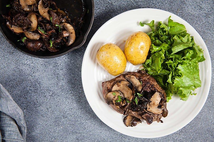 Sirloin Steaks with Miso-Butter Mushrooms