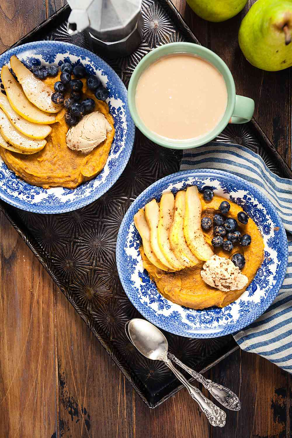 Sweet Potato Breakfast Bowls with Brown Sugar Pears - 10 minute recipe