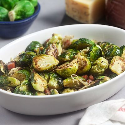 Asiago Roasted Brussels Sprouts with Crispy Speck Alto Adige