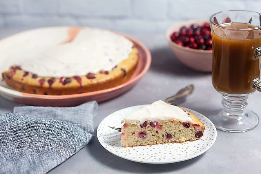 Cranberry Cake with Cream Cheese Glaze