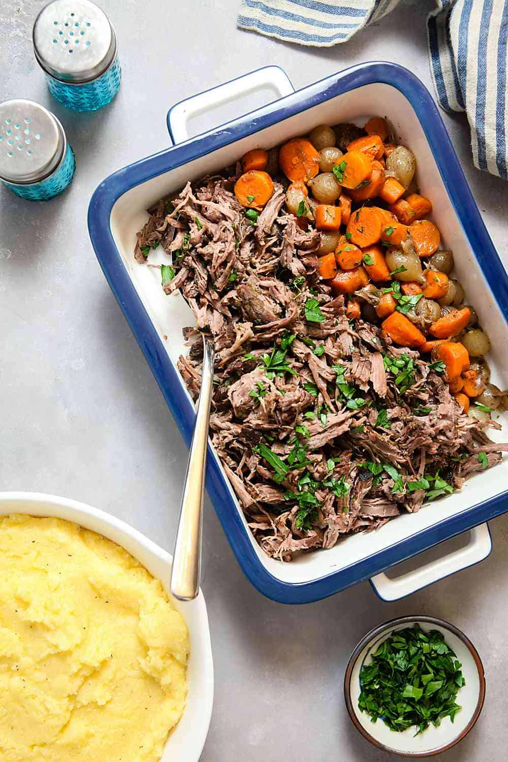 Slow Cooker Red WIne Beef over Horseradish Polenta