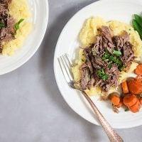 Slow Cooker Red Wine Beef over Horseradish Polenta