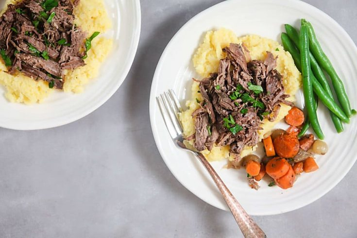 Slow Cooker Red Wine Beef over Horseradish Polenta 1