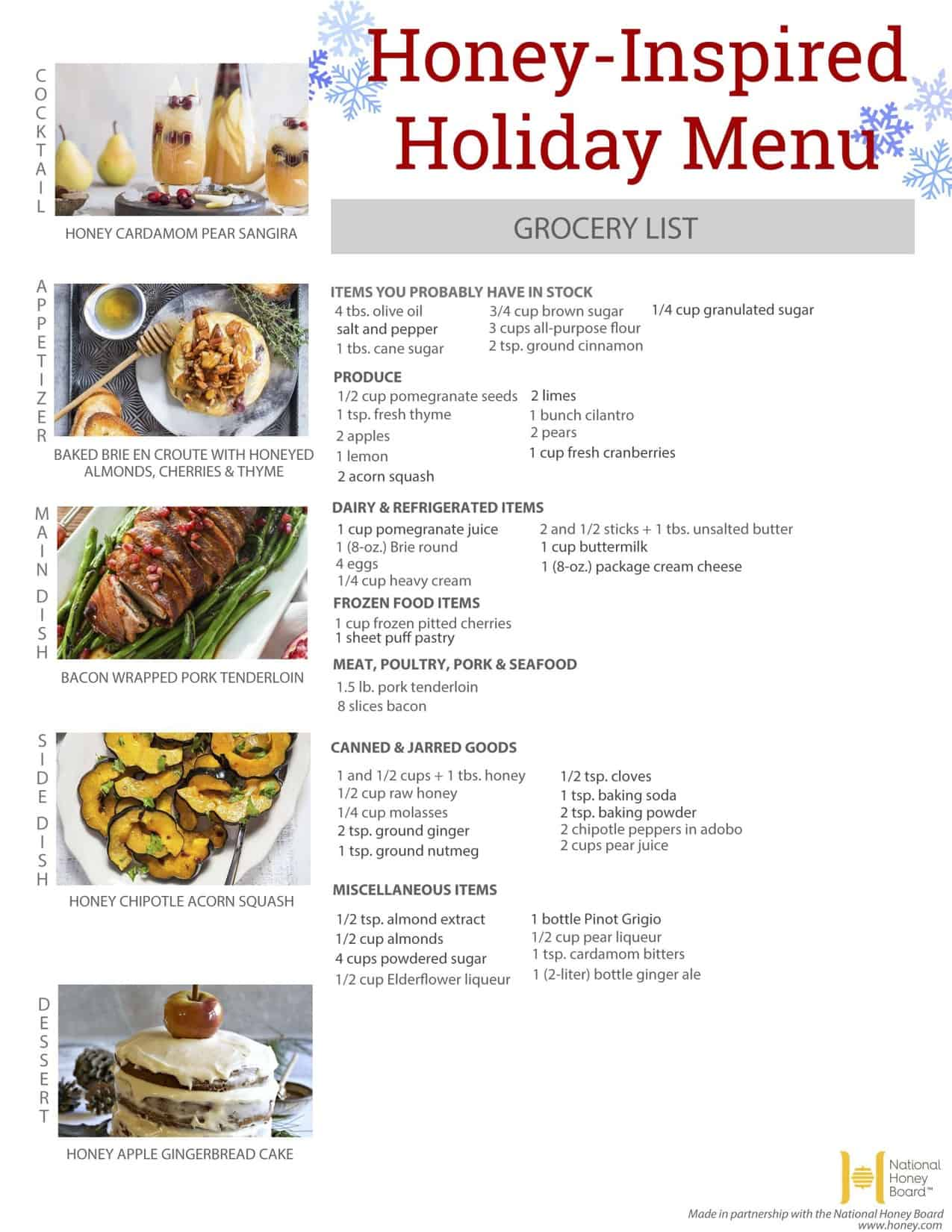honey-inspired holiday menu