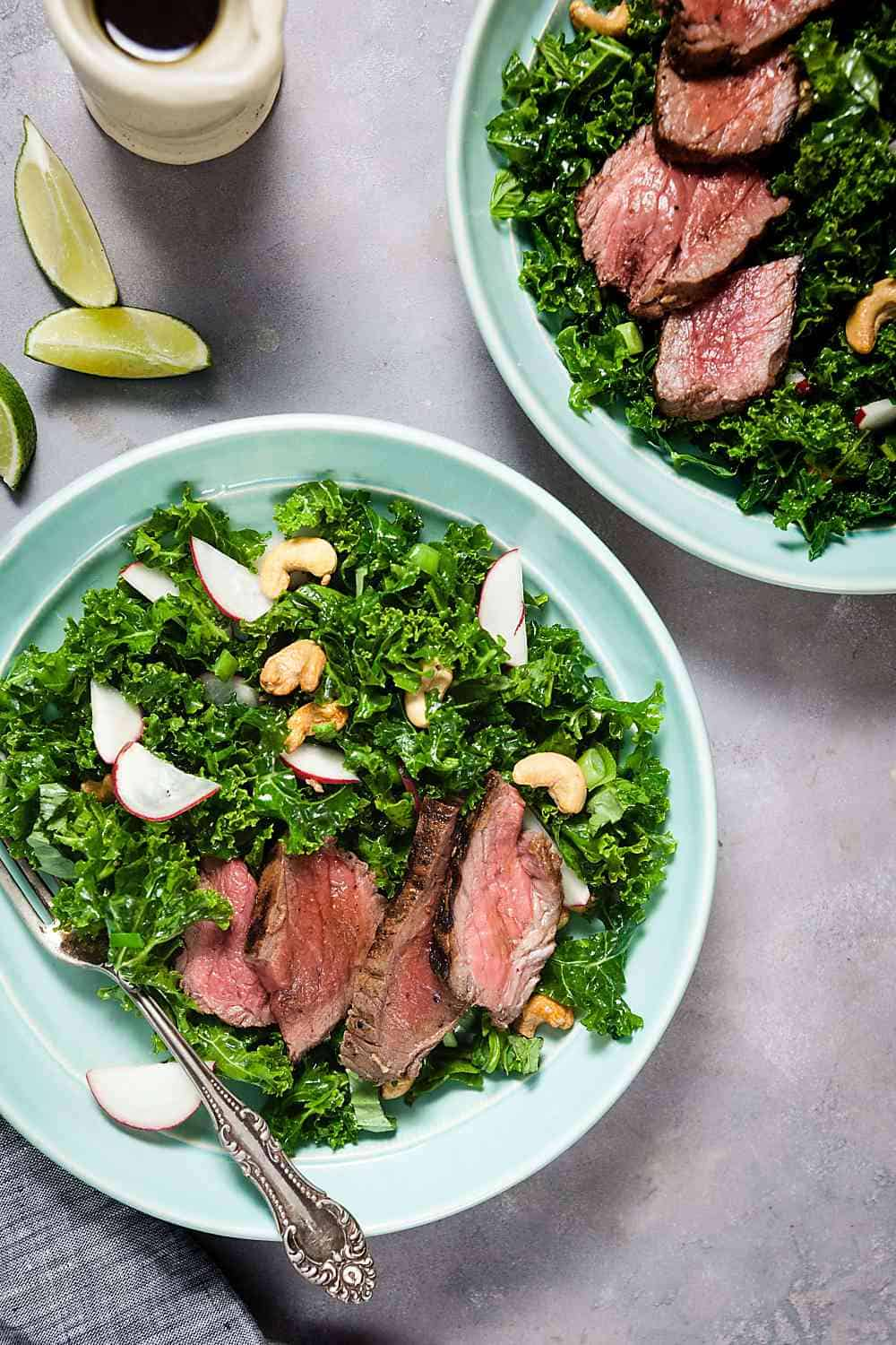 Thai Steak Salad with Kale and Cashews