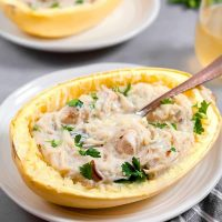 Chicken Carbonara Spaghetti Squash Boats