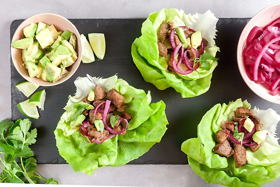 Cuban-Style Beef Lettuce Wraps with Pickled Onions