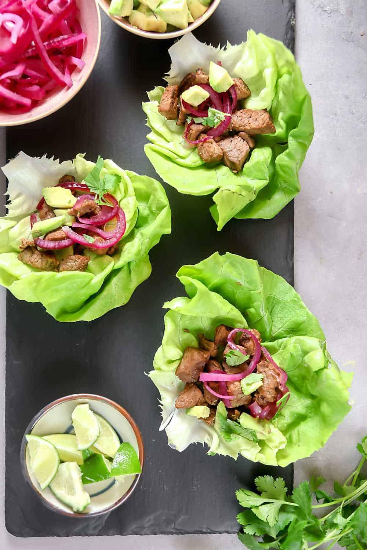 Cuban-style beef lettuce wraps