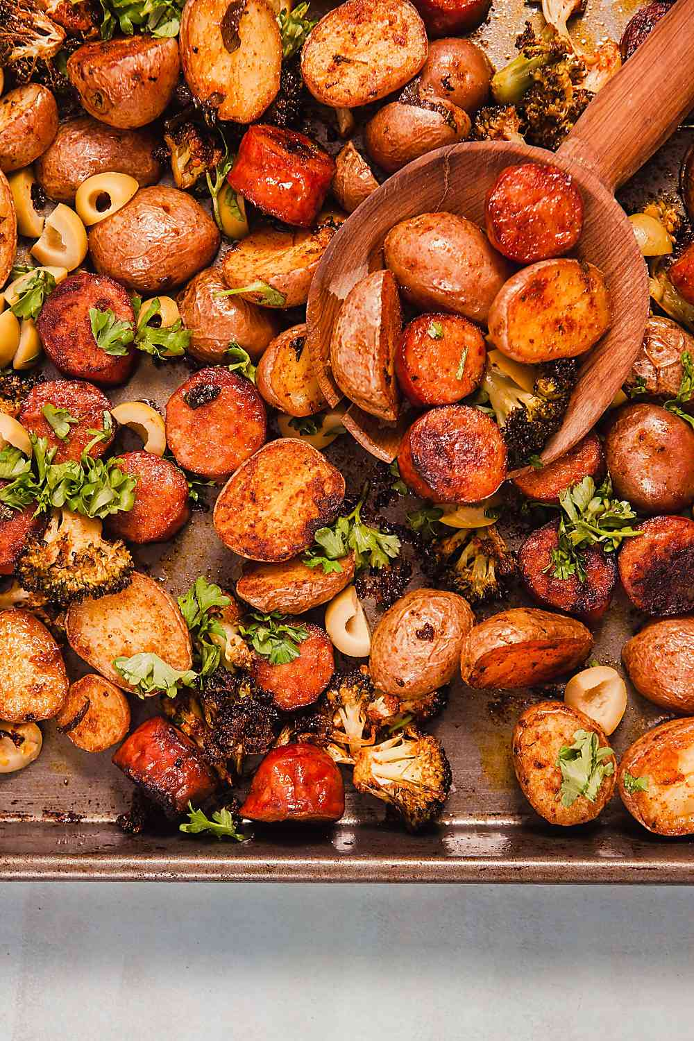 Sheet Pan Spanish Style Potatoes with Chorizo (Whole 30)
