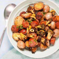 Sheet Pan Spanish Style Potatoes with Chorizo