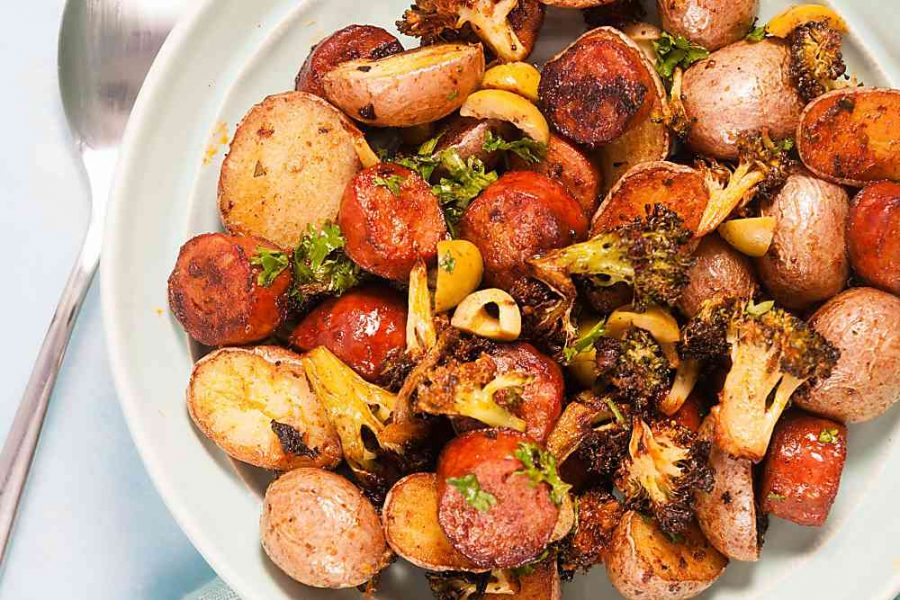 Sheet Pan Spanish Style Potatoes with Chorizo (Whole 30)