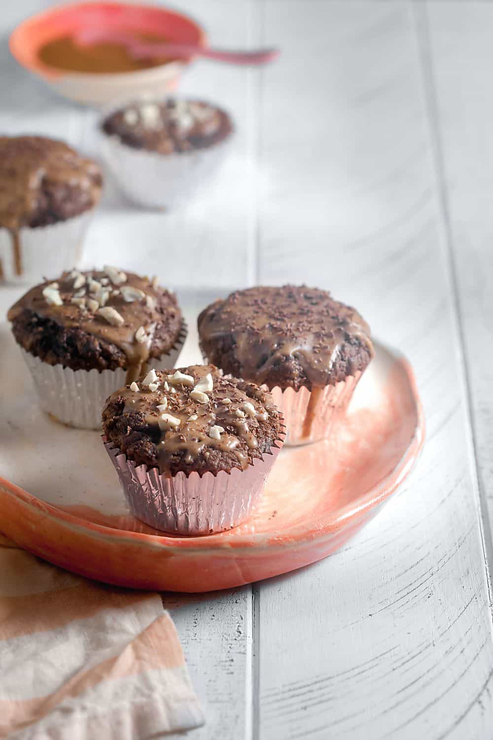 Grain-Free Chocolate Peanut Butter Cupcakes - paleo option