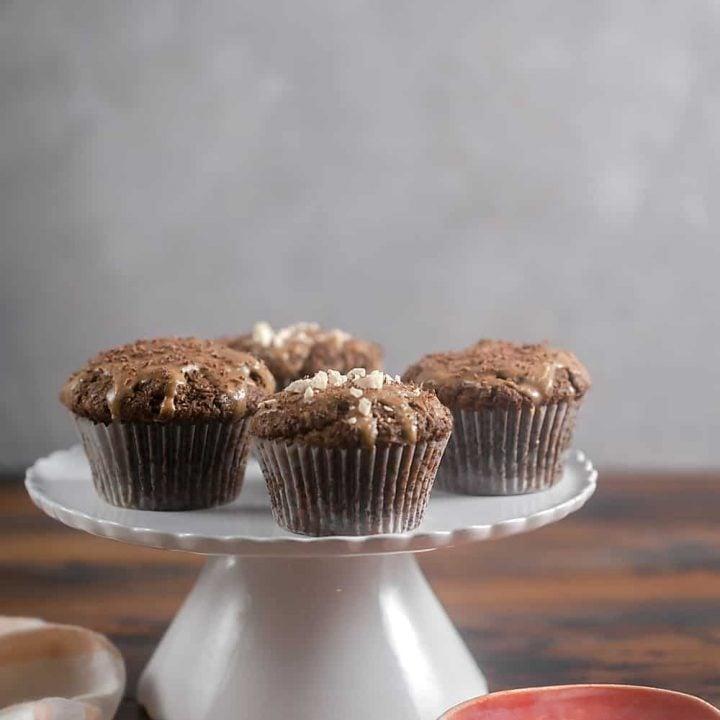 Grain-Free Chocolate Peanut Butter Cupcakes - paleo option