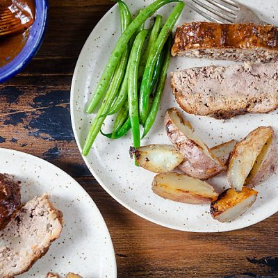 Paleo Barbecue Meatloaf with Roast Potatoes (Paleo, Whole 30, Dairy Free)