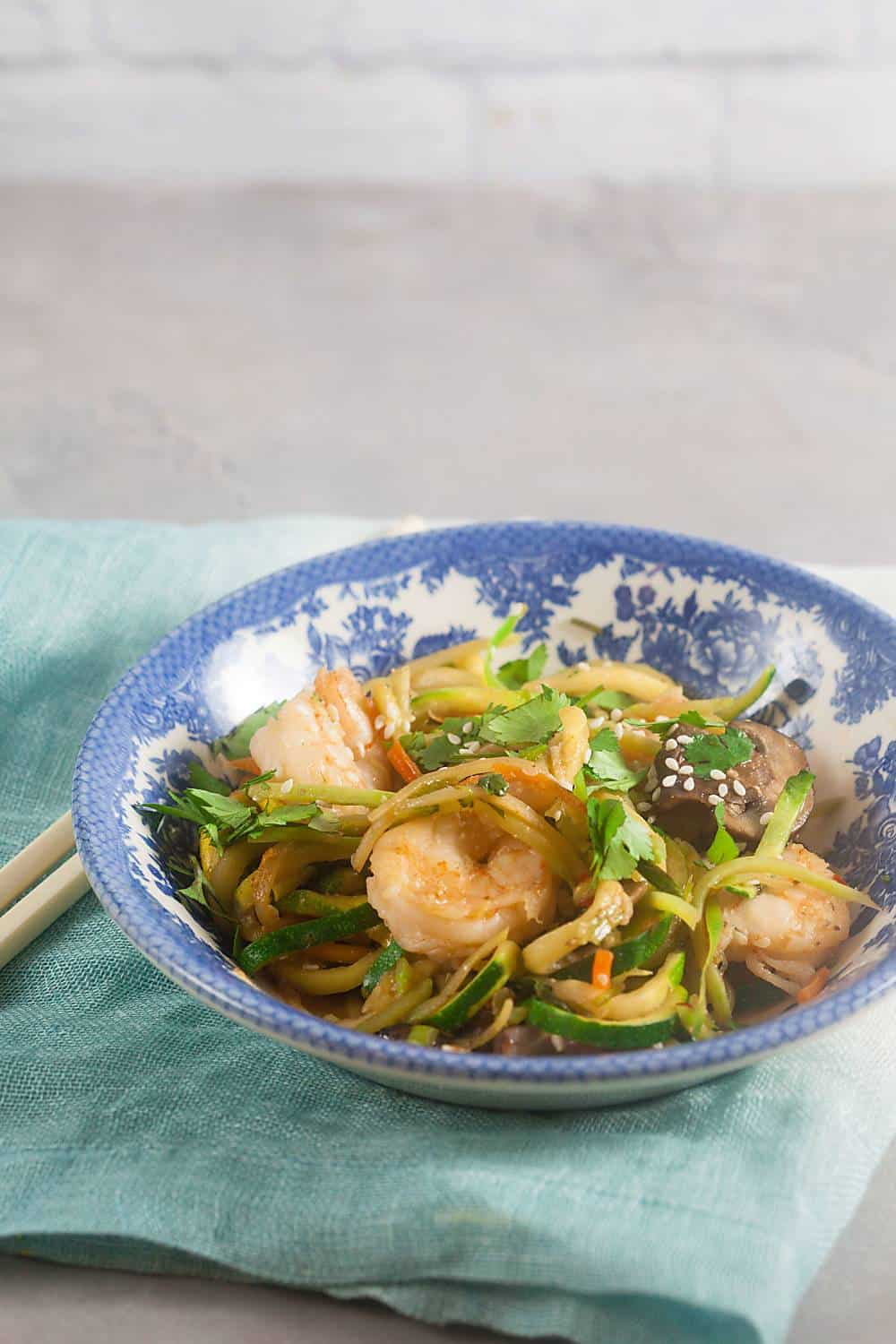 zucchini noodle shrimp stir fry recipe